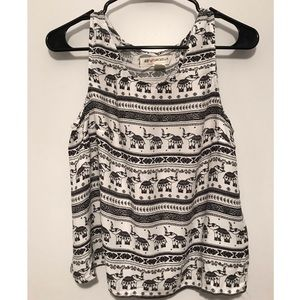 Open-back elephant print tank top
